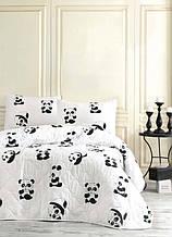Покривало стеганное з наволочками 160*220 Eponj Home B&W Panda чорно-біле