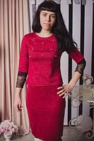 Стильный красный костюм состоящий из юбки и кофты с кружевом и бусинками