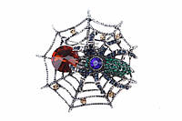 Брошь в виде паучка на паутине украшенная цветными стразами (под серебро), украшения для одежды, ювелирная бижутерия