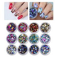 Набор камифубуки для декора ногтей 12 Colors Holographic Nail Art, фото 1