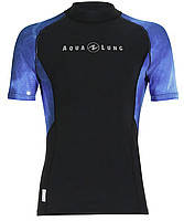 Мужская лайкровая футболка для плавания с уф защитой AquaLung Galaxy Blue; короткий рукав
