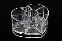Органайзер для косметики акриловый Araucaria, материал: пластик, прозрачный, форма: сердца, 8 отделений, длина: 11.5 см, ширина: 9.5 см, высота: 6 см,