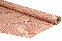 """Упаковочная бумага """"Газета крафт"""" для подарков, красная с коричневым, длина 10м, ширина 70см, плотность 80г/м², Бумага для упаковки подарков,"""