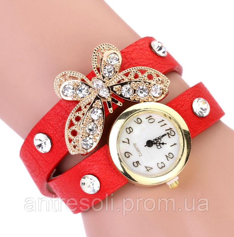Наручные часы женские с красным ремешком Бабочка код 115