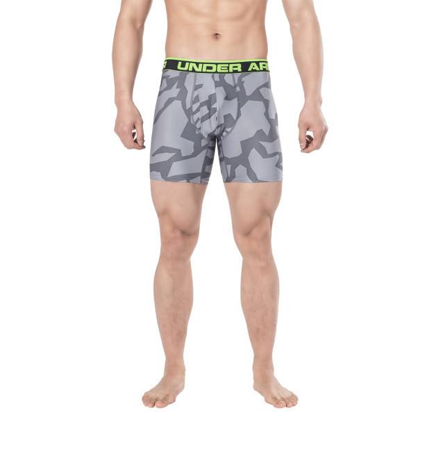 Трусы-боксеры Under Armour Original Series Printed Boxerjock 1242916 XXL Серые с салатовой резинкой (1242916)