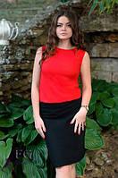 """Летнее платье приталенного силуэта имитирующеекомплект из блузки с юбкой""""Vivien"""" ( 4 цвета)"""