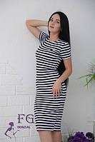Летнее облегающее платье-тельняшка в сине-белую полоскудлина миди