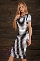 Летнее облегающее платье тельняшка до колена черно белая