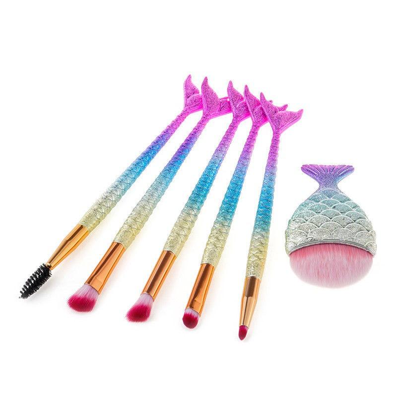 Набор из 6 кистей для макияжа Mermaid Makeup Brushes Set