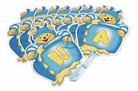 """Бумажная гирлянда """"Clown party"""" для праздничного декора, голубая, длина ленты 3.5м, ширина флажка 14см, высота флажка 18.5см, Праздничный декор,"""