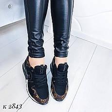"""Кроссовки, кеды, мокасины женские черные """"Sively"""" эко кожа, спортивная, весенняя, летняя, повседневная обувь, фото 2"""