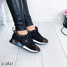 """Кроссовки, кеды, мокасины женские черные """"Sively"""" эко кожа, спортивная, весенняя, летняя, повседневная обувь, фото 3"""