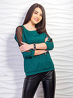 Джемпер со вставками сетки на рукавах