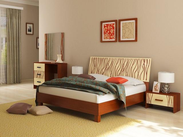 Ліжко з ДСП/МДФ в спальню Терра 1,6х2,0 підйомне з каркасом ваніль Миро-Марк