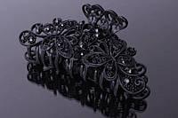 """Краб для волос """"Dahlia"""" металлический (черный) украшенный стразами, заколка - крабик для волос, заколка металлическая, крабик металлический, заколка"""