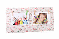 Декоративная рамка для фото, на 2 фотографии, ширина 40см, высота 20см, дерево, мешковина, Фоторамка, Рамка для фото