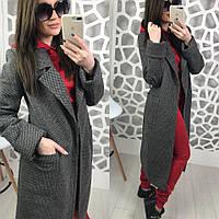Женское двухфактурное пальто на весну-осень ниже колена длиной 580274