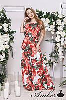 Платье макси из дайвинга в цветочный принт 8031174
