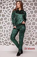 Бархатный женский спортивный костюм с жемчугом на кофте 5005266