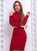Женский юбочный костюм с разрезами на плечах 6610385