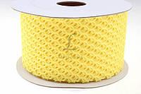 """Лента декоративная """"Сетка"""" для творчества, желтого цвета, длина 10м, ширина 6см, Ленточка для декора, Лента для творчества"""