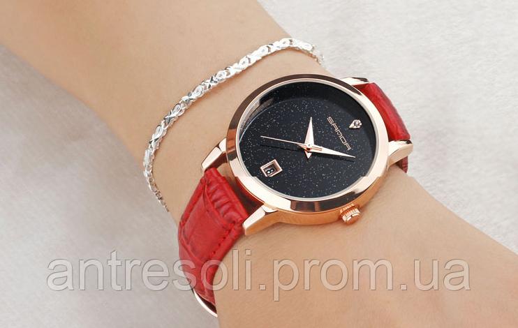 Часы наручные женские с красным ремешком код 375