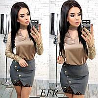 Женская стильная замшевая юбка с гипюром, фото 1