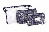 Косметичка Cadia, материал: ткань и силикон, на молнии, форма: прямоугольная, размер L: 26х18х6.5 см, размер M: 22х14х5 см, размер S: 18.5х12х3 см,