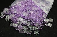 """Декоративные подвески """"Crystal"""" для гирлянды, сиреневого цвета, вес 500 г, Кристалы для украшения, Искусственные кристалы"""
