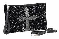 """Сумка женская-клатч """"Агнесс"""", форма: прямоугольная, на молнии, цвет: черный, регулируемая ручка, 1 отделение, материал: кожзам, длина: 34.5 см,"""
