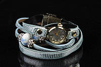 Браслет - часы женский на руку Ruellia голубого цвета, с металлическими бусинами