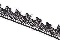 """Синтетическое кружево """"Nertera"""" для декративной отделки, черное, длина 13.7м, Кружевная тесьма, Кружевная лента"""