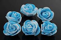 Латексные цветы Pothos, диаметр 3 см, цвет голубой, бутон розы, фоамиран, цветы для декора, цветок для рукоделия