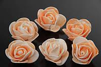 Латексные цветы Nolana, диаметр 3 см, фоамиран, цвет бежевый, бутон розы, цветы для декора, цветок для рукоделия