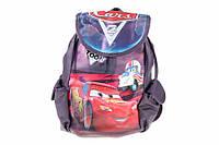 """Сумка рюкзак детская """"Тачки"""", цвет: фиолетовый, длина: 18 см, высота 30 см, материал: ПВХ, на затяжках, 1 отделение, 2 внешних кармана, рюкзак для"""