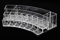 Органайзер для косметики акриловый Diplolaena, материал: пластик, прозрачный, форма: дугообразный, 19 отделений, длина: 28 см, ширина: 14 см, высота: