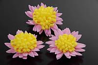 Цветок декоративный Nigella, диаметр 3,5 см, фоамиран, цвет розовый с желтой серединой, декоративные цветы, цветы исскуственне для рукоделия
