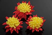 Цветок декоративный Persea, диаметр 3,5 см, фоамиран, цвет красный с желтой серединой, декоративные цветы, цветы исскуственне для рукоделия