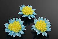 Цветок декоративный Mitraria, диаметр 3,5 см, цвет голубой с желтой серединой фоамиран, искуственные цветы, для декора