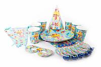 """Набор детской посуды """"Happy Bithday"""" для праздника, голубая, картон, полиэтилен, на 6 персон, Детская посуда, Одноразовая праздничная посуда"""