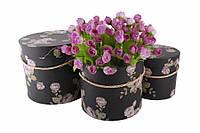Набор подарочных коробок под цветы Gloriosa, материал: картон, тип: коробка, форма: круглая, цвет: черный, размер L: 20x17.2cm, размер M: 17.5x14.6cm,