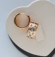 Серьги-кольца с белыми цирконами фирма Xuping позолота 18к.