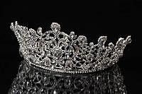 """Диадема - корона """"Сhrysanthemum"""" (цвет: серебро) в камнях, украшение для головы, диадема на заколках, диадема на невидимках, украшения для невест"""