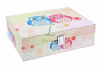 """Шкатулка для украшений """"Совы"""" со стразами, материал: ПВХ и велюр, цвет: белый, 8 отделений, на замочке, форма: прямоугольная, длина: 25 см, ширина: 19"""