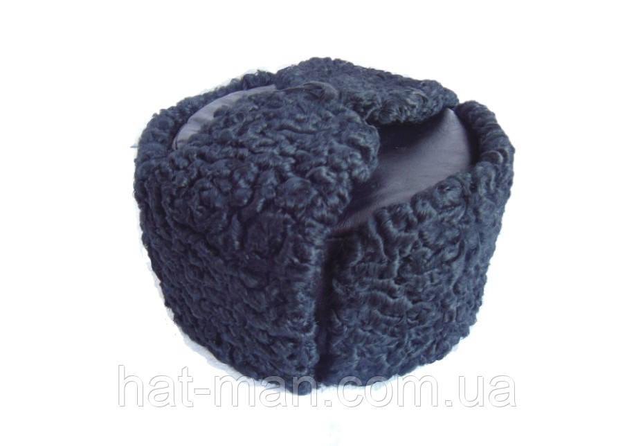 Шапка ушанка с черного каракуля