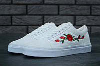 Мужские кеды Vans Old School Roses White. ТОП Реплика ААА класса.