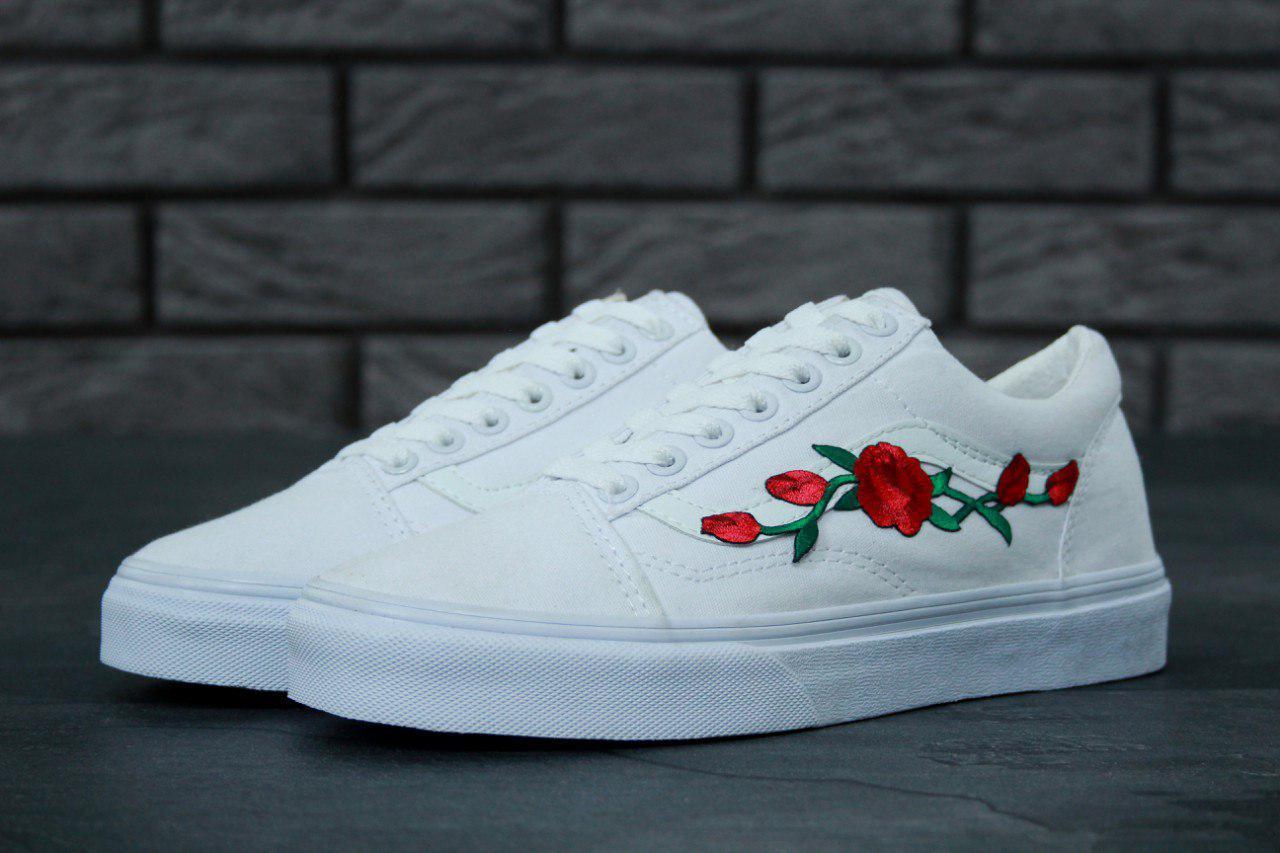 Женские кеды Vans Old School Roses White. ТОП Реплика ААА класса.