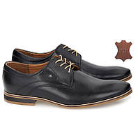 Черные мужские туфли из натуральной кожи, фото 1
