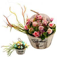 """Композиция из искусственных цветов """"Garden flowers"""" 25*17*25см R22329 (12шт)"""