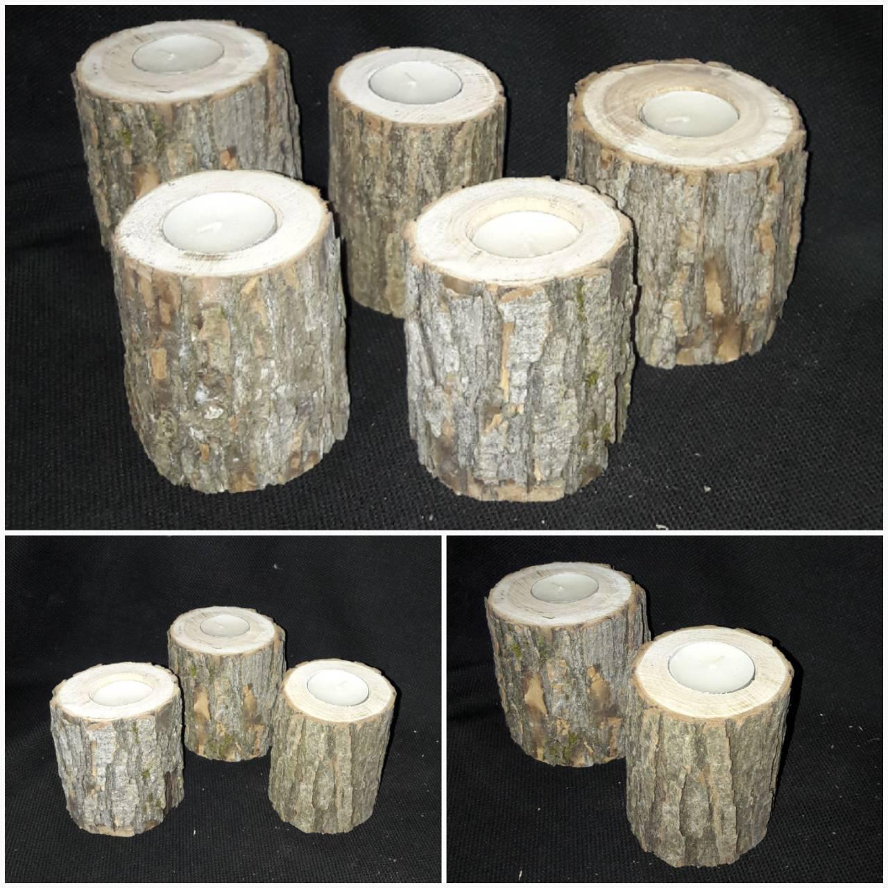 Натуральный декор - подсвечник, дерево - смерека, выс. 9-10 см, 75/55 (цена за 1 шт. + 20 гр.)